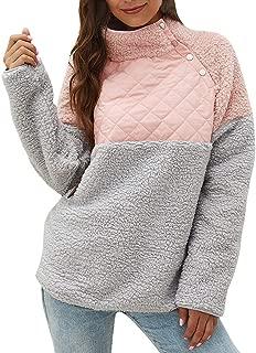 MEEYA Warm Long Sleeves Geometric Pattern Fleece Pullover Sweatshirts for Womens, Casual Tilted Button Outwear