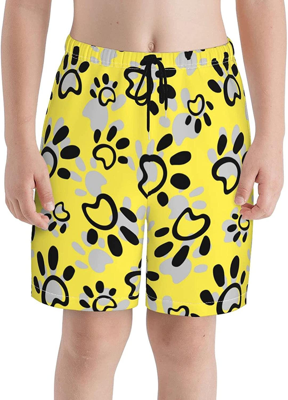 Fairy UMI Cute Footprints Boys Quick Dry Swim Trunks Youth Print Beach Surfing Board Shorts 7-20 Years