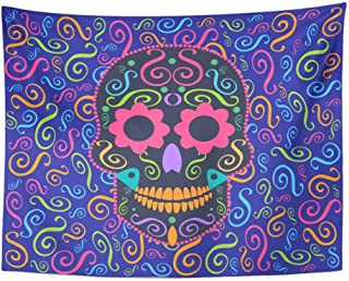 SPXUBZ Wall Tapestry Candy Skull with Flower Eyes Sugar Celebration Collection Culture Dark Day Dead Wall Hanging Decoration Soft Fabric Tapestry Perfect Print for House Rooms