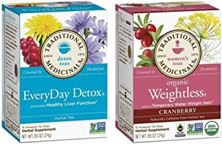 Traditional Medicinals Non-GMO Herbal Tea 2 Flavor Variety Bundle: (1) EveryDay Detox, and (1) Organic Weightless, 16 Bags...