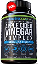 Apple Cider Vinegar Capsules by Nutra360 - Maximum Strength Dietary Supplement with Spirulina & Kelp - Aids Weight Loss, Metabolism, Digestion, Detox, Appetite suppressant- Paleo & Keto Diet Friendly