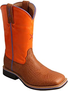 """Twisted X Boys' 9"""" Orange and Western Work Boot Narrow Square"""
