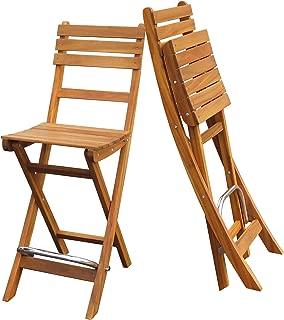 Interbuild Sofia Bar Chair|Golden Teak Finish| Foldable | 2-Piece Set …