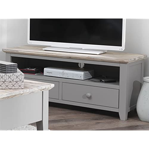 5e5870f560f Florence TV unit with 2 drawers. DOVE GREY TV stand with shelf and cable  access