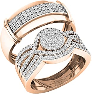 Dazzlingrock Collection 0.65 Carat (ctw) 10K Gold Round White Diamond Men & Women's Engagement Ring Trio Set