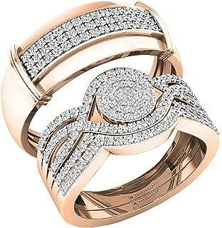 0.65 Carat (ctw) 10K Gold Round White Diamond Men & Women's Engagement Ring Trio Set