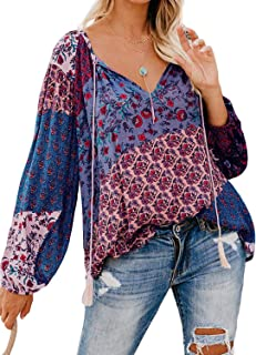 Actloe Women V Neck Floral Printed Multicolor Tops Long Sleeve Casual Blouses and Shirts