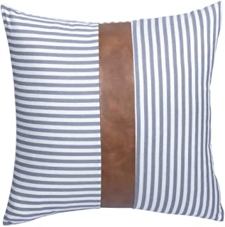 CARLOTA Farmhouse Ticking Decorative Pillows Cover Stripe Faux Leather Accent Throw Covers Modern Decor Pillowcases for Bed Couch Sofa Living Room 20 x 20 Inch (Gray)