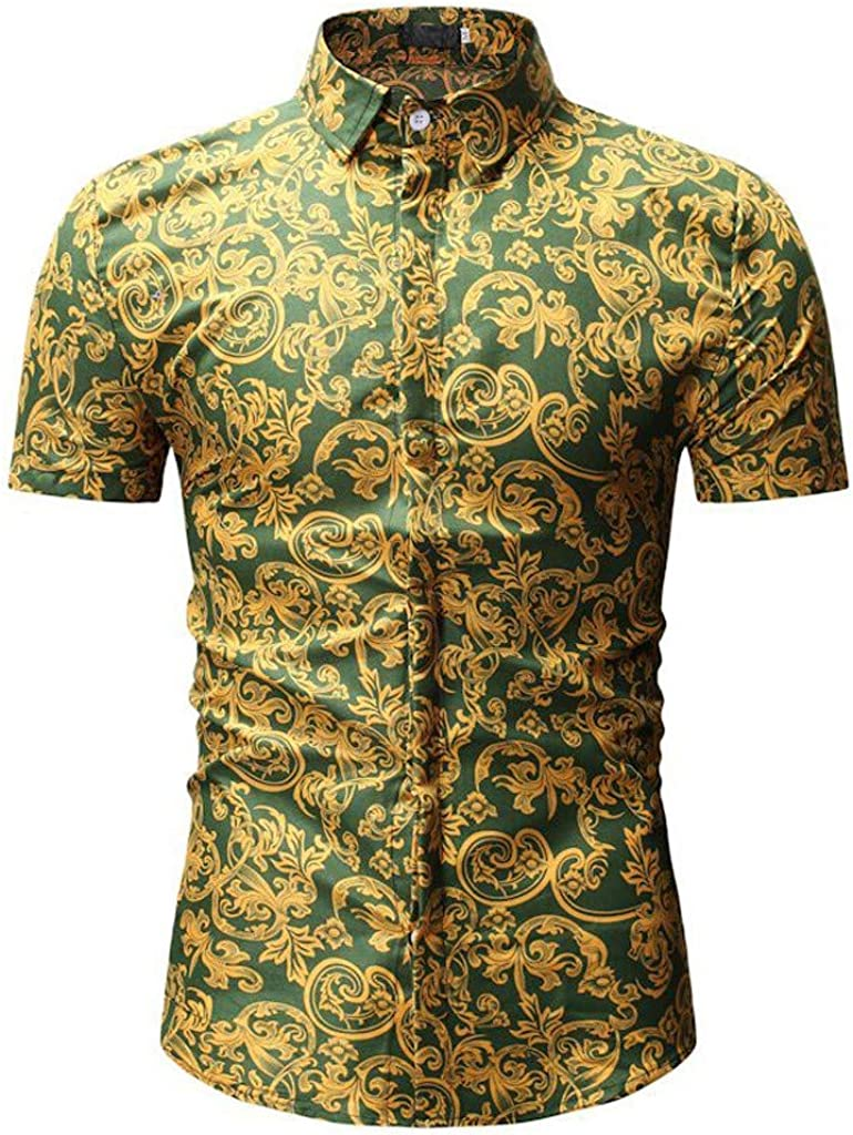 MODOQO Shirt for Men-Casual Inner Contrast Slim Fit Short Sleeve Printed Stand Collar Button Shirt