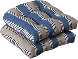 Pillow Perfect Indoor/Outdoor Striped Wicker Seat Cushions, 2 Pack, Blue/Tan