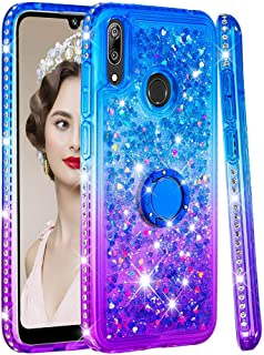 SUNWAYS Cute Case for Huawei Y7 Prime 2019 Girls Bling Sparkle with Ring Buckle Sidetrack Gradient Quicksand TPU Phone Case Blue Purple