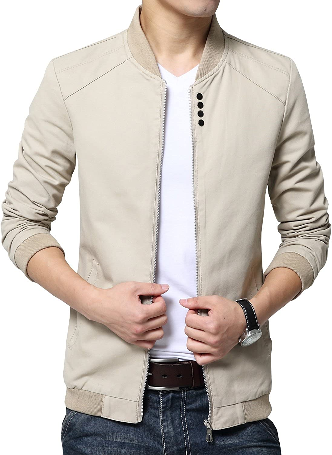 Womleys Mens Autumn Casual Bomber Jacket Coat Cotton Outerwear