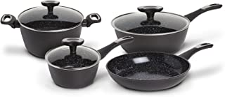 IKO Stratum Triple Layer Ceramic Non Stick 7 Piece Cookware Set Induction Ready Includes 5 Qt. Dutch Oven with Lid, 3.5 Qt. Saute Pan with Lid, 1.5 Qt. Saute Pan with Lid, and 10