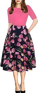 فستان حفلات غير رسمي من أوشيولي، منفوش ومرقع بشكل كلاسيكي بجيوب للسيدات، طراز OX165