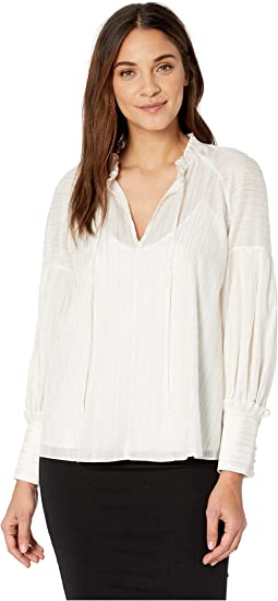 231b95daba9f0a Off-White Combo. 21. BCBGMAXAZRIA. Metallic Striped Poet Blouse