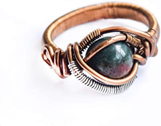 Handmade Raw Natural Bloodstone Ring - Men's and Women's Crystal Flow Jewelry - March Birthstone