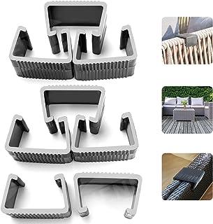 مشابك أثاث فناء من HENMI للأثاث في الهواء الطلق وكرسي راتان تثبيت للأريكة الموصل المقسم 8 قطع (كبير)