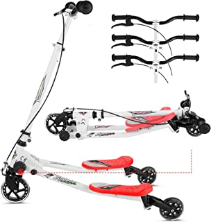 Y Flicker Scooter for Kids Ages 3-10, Fliker Swing Wiggle Scooter 3-Level Adjustable Height Foldable Kick Speeder Drifter ...