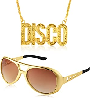 Disco Costume Set 1 Pair of 50's 60's Rockstar Disco Sunglasses and 1 Piece Disco Sign Necklace for Teens and Adult Gold