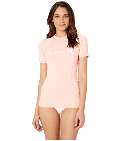 Hurley One and Only Short Sleeve Rashguard (Pink Tint/White) Women