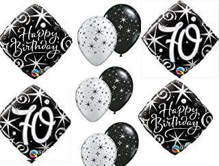 10pc BALLOON set 70th BIRTHDAY over the hill BIRTHDAY party BLACK silver classy decorations