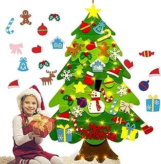 Julyfun Árbol de Navidad de Fieltro, Tela de árbol de Navidad DIY con luz de Cadena de 2M, niños, Adornos de Pared de Puerta de año Nuevo, Decoraciones Colgantes