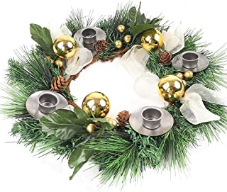 AGEOMET Christmas Candle Holder Artificial Advent Wreath for Christmas Advent Celebration Candles Decorations