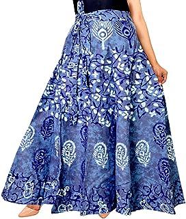 Trendy Fab Women's Jaipuri Rajasthani Sanganeri Printed Cotton Elastic Skirt (Blue; Free Size)