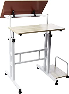 Mind Reader Multipurpose Home Office Computer Desk, Mobile Sit and Stand Desk, Workstation Desk, White