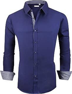 Esabel.C Mens Big and Tall Dress Shirts Long Sleeve Regular Fit Casual Button Down Shirt
