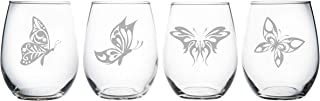 Butterfly stemless wine glass (set of 4)