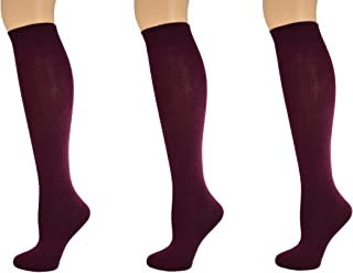 Sierra Socks Girl's School Uniform Knee High 3 pair Pack Cotton Socks G7200 2321