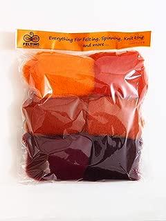 Felting Wool Kit – Starter Kit - Wool Felt Pack - Carded Wool Set For Needle Felting – Wool Batt - Wet And Nuno Felting – Spinning – Felting Supplies - Orange Palette - 26-29micron - 60g/2.1oz - Store