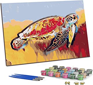 PJCSEC DIY Paint by Numbers for Adults Kids, Canvas Oil Painting Kit for Beginner, Valuable Gift - Colorful Sea Turtle (1...
