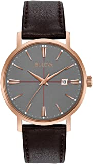 Bulova Men's 39mm Classic Rose Goldtone Brown Leather Strap Watch