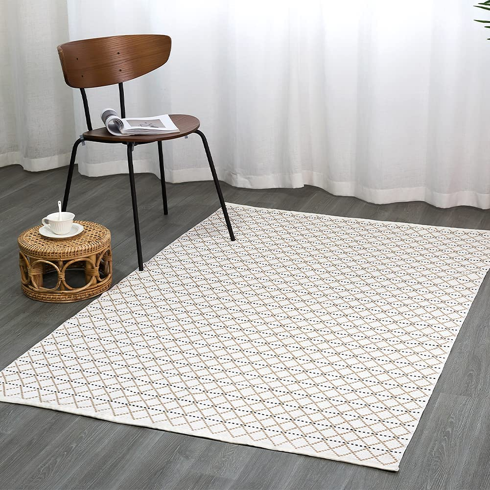 Cotton Woven Area Rug 4'x6' Cheap Denver Mall mail order specialty store Boho for Kitche Washable