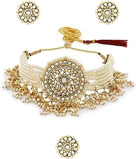 Zaveri Pearls Gold Tone Multistrand Kundan Choker Necklace Earring & Ring Set For Women-ZPFK10769