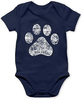 Shirtracer Tiermotive Baby - High Five Hunde Pfote - Baby Body Kurzarm für Jungen und Mädchen