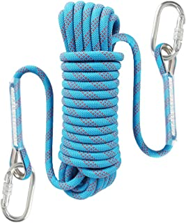 2 Carabiner 10//15//20M Rock Tree Climbing Static Rope Safety Rescue Rappel Cord