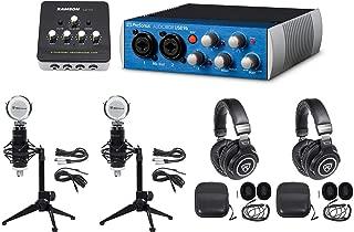 2-Person Podcast Podcasting Kit w/AUDIOBOX USB 96+Headphones+Mics+Desk Stands