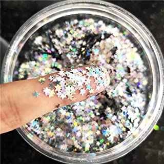 Tiny Stars Glitter Confetti 3mm Stars Confetti Laser Sequins for Party Decoration, DIY Crafts, Premium Nail Art, Body Art Eye Bling - 10g,Holographic Silver