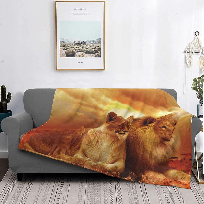 African Lion Blanket Flannel Fleece Soft Manufacturer OFFicial shop Quilt Bedding Ultra Ho Quality inspection
