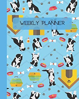 Weekly Planner: Dogs - Blue Cover 8x10