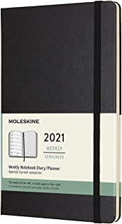 "Moleskine 12 Month 2021 Weekly Planner, Hard Cover, Large (5"""" x 8.25"""") Black, DHB12WN3Y20"