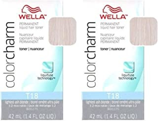 Color Charm Permanent Liquid Hair Color T18 Lightest Ash Blonde (2 Pack)