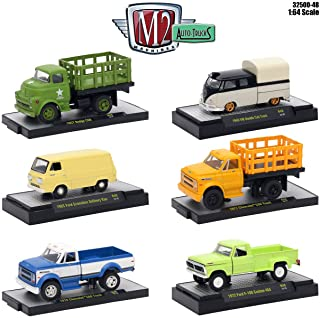 M2 Machines 1:64 COLLECTION - Auto-Trucks Release 48 Assortment In Acrylic Cases Set Of 6pcs (Chevy, Dodge, Ford) Diecast Model Car By