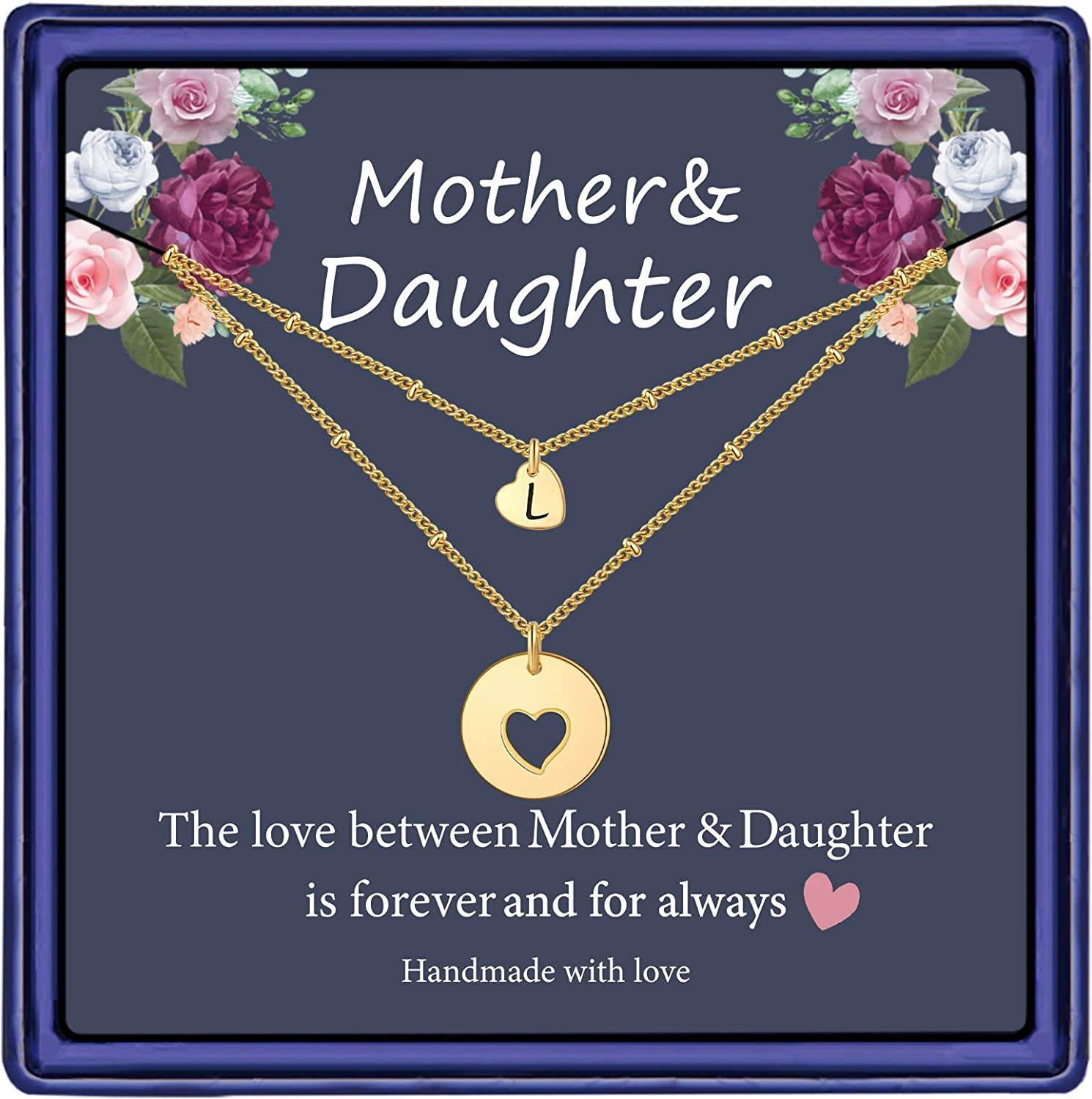 Iefil Mother Daughter Necklace for Mom, 14k Gold Filled Layered Necklace Heart Initial Necklace Gifts for Mom from Daughter Gifts for Mother's Day Christmas Thanking Giving Day