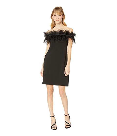 8dbd49511c Vince Camuto Sleeveless Feather Trimmed Off-Shoulder Dress at Zappos.com