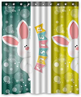 ZHANZZK Custom Cute Rabbit Happy Easter Shower Curtain 60x72 Inches
