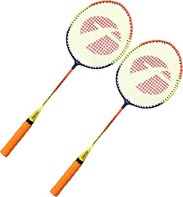 Feroc Steel Shaft Badminton Racket Set of 2 with 3 Pieces Nylon shuttles with Full Cover
